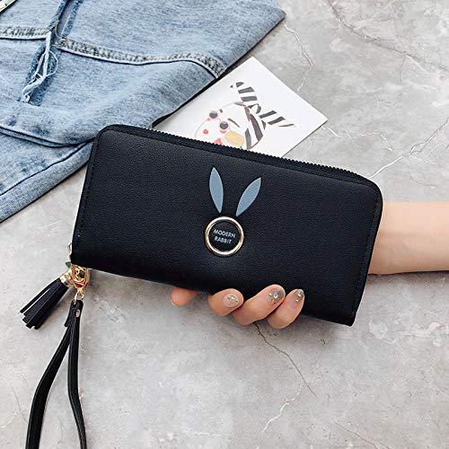 Fyyzg Neue weibliche Wachstum Handtasche Reißverschluss Handschellen Brieftasche mit großer Kapazität Multi-Card Handytasche - schwarz
