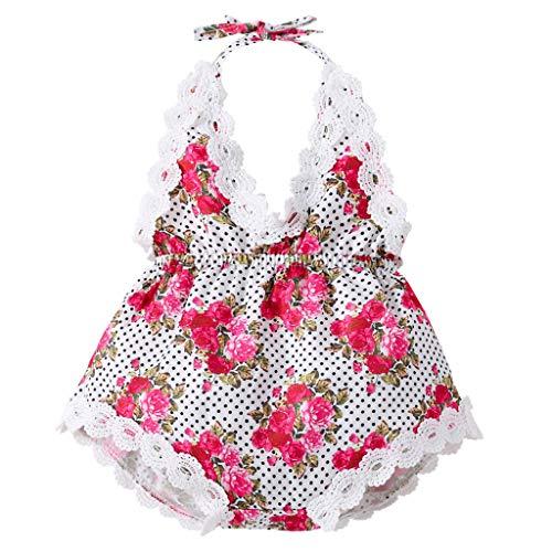 (JUTOO Infant Girl Kids Sleeveless rückenfreie Floral Riemen Strampler Kleidung Summeer Kleid (Weiß100))