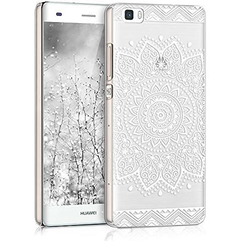 kwmobile Elegante y ligera funda Crystal Case Diseño flor para Huawei P8 Lite en blanco