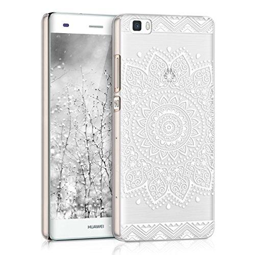 Kwmobile cover per huawei p8 lite (2015) - custodia rigida trasparente per cellulare - back case cristallo in plastica bianco/trasparente