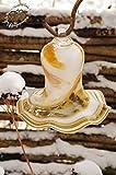 17 cm Gross Gartenkugel Tulpe Tropfen, Blume mit Hakenhalter Schäferstab Winterfest & ROBUST Glas-Dekoration Blüte Gartentulpe Glocke Rosenkugel in Tulpenform und in gelb-weiß farblichem Design, 125