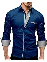 MERISH Hommes Chemise business SlimFit Manches longues avec Couleur Contraste parfait pour toutes les occasions Modell 02