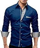 MERISH Hemd Slim Fit 5 Farben Größen S-XXL 02 H.Blau (New Blue) XXL