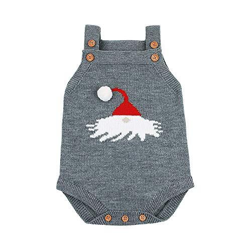 Quaan Neugeborenes Säuglingsbaby Ärmellos Karikatur Weihnachten Gestrickt Overall Kleider Strampler warm Outfit gemütlich weich Outwear Weste Sweatshirt Windjacke Kleiner Anzug Jacke