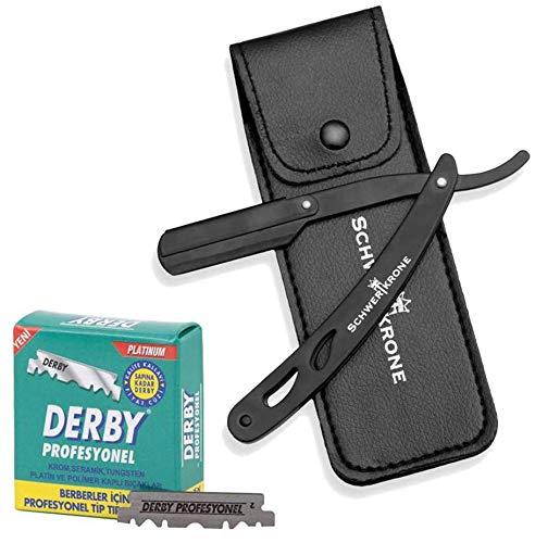 Schwertkrone Rasiermesser Schwarz + 100 halbe Derby Wechselklingen + Transporttasche | Rasiermesser Set Herren für Einsteiger & Fortgeschrittene (Schwarz)