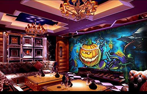 Wanghan 3D Tapete Individuelle Tapete Europa Und Amerika Halloween Kürbis Kopf Straße Graffiti Ktv Hintergrund Bar Unterhaltung Platz Wandbild-450Cmx300Cm