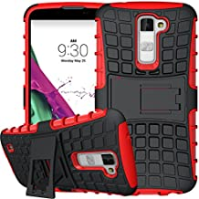 Nnopbeclik 2in1 Dual Layer Coque LG K10 Silicone [New] [Armor Séries] Protectrice Fine Et Élégante Rigide Back Cover Incassable case pour lg k10 coque rouge antichoque [K420N] (5.3 Pouce) [Ridige] Protection Hybride en Mélange avec Béquille de Support Intégrée Housse Antiglisse Anti-Scratch Etui - [Rouge]