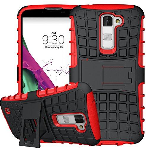 Preisvergleich Produktbild Für LG K10 Hülle [Rot], LG K420N Hülle, LG K10 Dual SIM Hülle, TPU+PC Schutzhülle, Rüstung Serie Hohe Qualität Schutzhülle Muster Anti-Scratch und Anti-Schock stoßfest Stoßdämpfend Schutz Handy Hülle Case Back Cover Tasche mit Ständer[