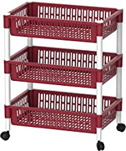 Cosmoplast Multipurpose Plastic Trolley Vegetable Rack, Dark Red, 3 Tiers, IFHHVR380DR