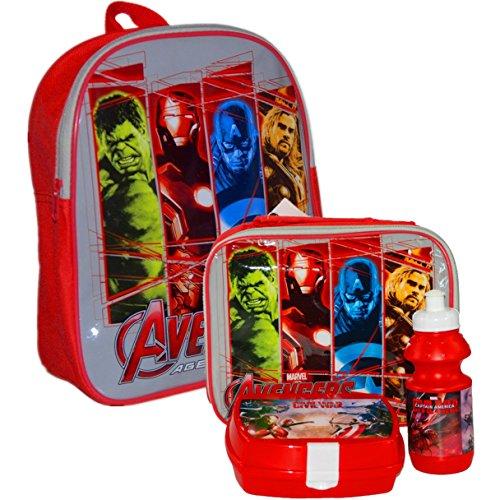 MARVEL® Avenger Official Kids Children School Travel Rucksack Backpack Bag, Lunchbag Lunch Bag Case with Sandwich Box and Drinking Bottle Set for Kids Children - Thor, Hulk, Iron Man, Captain America