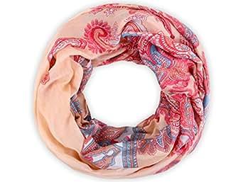 Sciarpa a tubo circolare, foulard da donna leggero e morbido estate primavera autunno inverno loop anello ragazze colorati stola accessorio moderno lifestyle, SCH-606.624:SCH-606c rose pink
