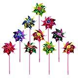 Cuigu 10 Stücke Kunststoff Windmühle Windrad Wind Spinner Kinder Spielzeug Garten Rasen Party Decor