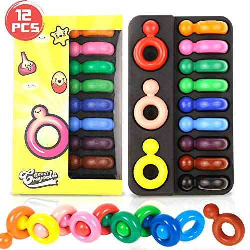 Buluri Buntstifte für Kinder, 12 Farben Buntstifte ungiftig Fingerring Form leicht Palm-Grip Buntstifte, Färbung Geschenk für Kleinkinder Kinder ab 1 Jahr(Toddlers ()