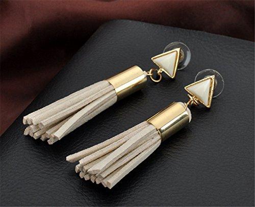 Interesting® Beige Vintage Dreieck Quaste Tropfen Ohrringe Faux Suede Stoff lange baumeln Ohrringe für Frauen