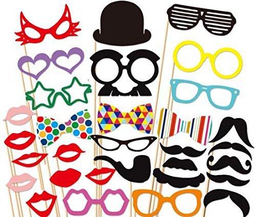 JZK® 32 x Photo Booth Seflie Foto Masken Krawatte Brille Bart für Hochzeit Geburtstag Taufe Weihnachten Silvester Karneval Halloween Party oder Gelegenheiten verschiedenen