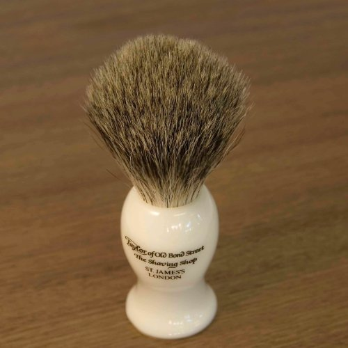 ALMOND – Taylor of Old Bonds Street Pure Badger Brush & Cream Set *Luxury Ivory brush with Almond Shaving Cream
