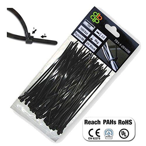 Proteco-Werkzeug 100 St. Profi Kabelbinder 200 300 400 lösbar wiederverwendbar schwarz UV stabil Größe 4 8 x 200 mm