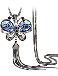 Womage Antique Style Butterfly Blue Crystal Long Chain Pendant Tassel Necklace For Girls And Women - Jewl-25