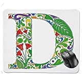 Mouse Pad,Colorful Abloom Initials Typescript with Vibrant Lively Display Retro Curlicues Decorative Mouse Pad