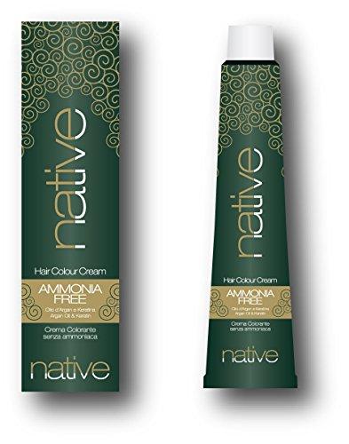 Native–Creme Farbstoff für Haar ohne Ammoniak mit Arganöl und Keratina, 6.1dunkel blonde Asche (100ml)