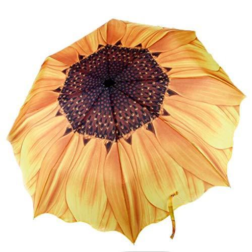Sonnenblume Regenschirm Sonnenschirm Kompakt Schirm UV Schutz Taschenschirm mit Hülle Kreativ Umbrella für Kinder Damen Studentin Freundin Geschenk Leicht Windfest Durchmesser 96cm