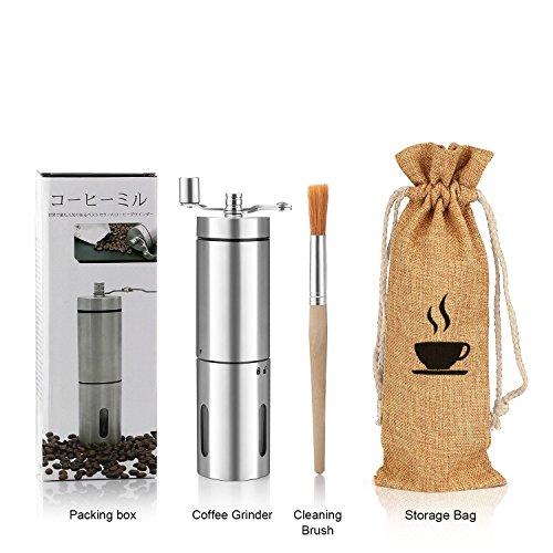 Manuelle Kaffeemühlen - SUMGOTT Hand Kaffeemühle aus Edelstahl Konisches Keramikmahlwerk mit Tragetasche, Reinigungsbürste