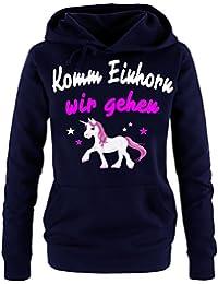 Komm Einhorn - wir gehen ! Unicorn Damen Hoodie - Sweatshirt mit Kapuze Gr.S M L XL XXL schenken Birthday Party Feiern