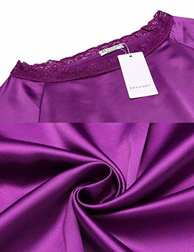 Ekouaer Damen Herbst/Winter Classischer Satin Schlafanzug Langarm Spitze Pyjama Nachtwäsche mit Organza (2 Stücke) Violett