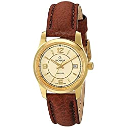Grovana Women's 'Traditional' Swiss Quartz Stainless Steel and Leather Casual Watch, Color:Brown (Model: 3215-1511)