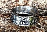 Coinring, Münzring, Ring aus Münze (2 Mark Deutsches Reich 1939), 625er Silber - Double Sided coin ring - Größe 53 (16.9), handgeschmiedetes Unikat