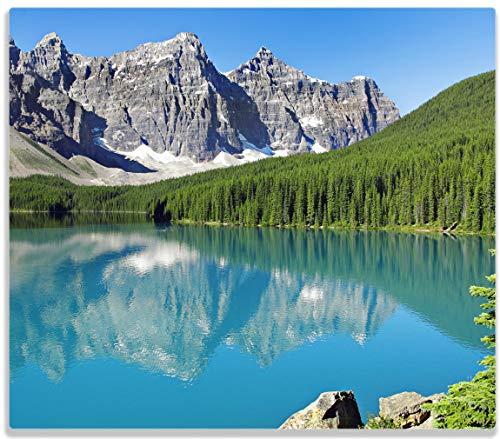 Wallario Herdabdeckplatte/Spritzschutz aus Glas, 1-teilig, 60x52cm, für Ceran- und Induktionsherde, Tiefblauer See mit Bergpanorama und Wäldern - Kanada