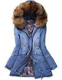 iBaste Abrigo Invierno Mujer Cuello con Pelo Gran Talla Térmico Winter Coat Women Talla 40 42 44 46