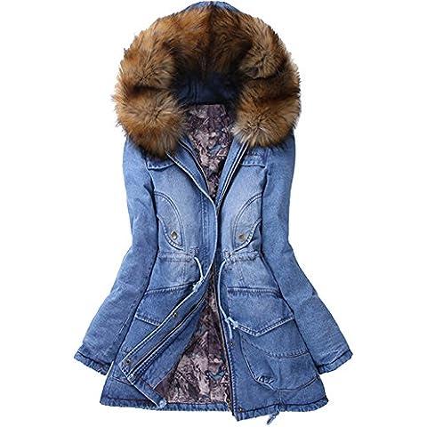 iBaste Abrigo Invierno Mujer Cuello con Pelo Gran Talla Térmico Winter Coat Women Talla 40 42 44