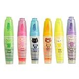 Lot de 6 stylos surligneurs avec joli motif de dessin animé