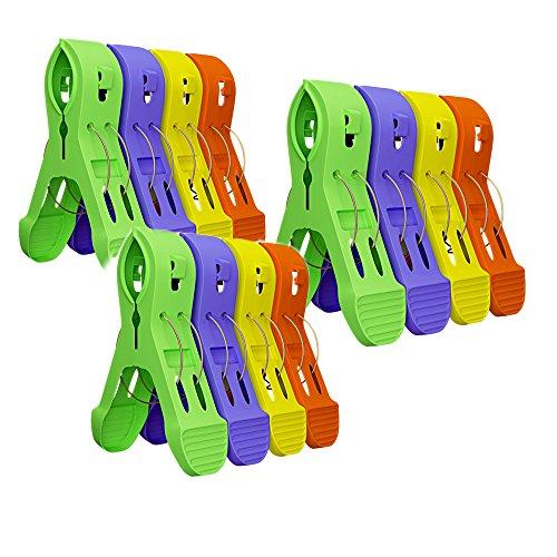 (YAKEFJ 12Pack Strandtuch Clips Strandkorb Strand Handtuchhalter in Leuchtenden Farben,–Halten Sie Ihre Handtücher aus bläst entfernt)