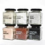 Sali Gourmet: Nero Black Lava Hawaii - Molokai (200g), Rosso Alaea Hawaii - Molokai (200g), Scaglie di Cipro (100g), Fiore di Sale Delta dell'Ebro (150g), Blu di Persia (200g) e Rosa Himalaya (200g)