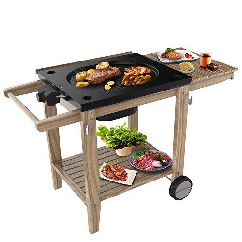 Raclette Grill Barbecue Smoker Holz-Ablagen Elektrischer - Grillfläche Luxus Grillwagen Holzkohle, Standfuß mit Rädern, mit Grillplatte, 2200W