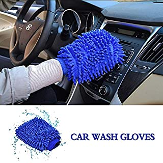 NOVSIGHT Microfiber Mitt Car Wash Mitt Microfiber Wash Cloths Car Cleaning Microfiber Cloths Blue