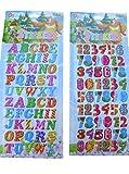 2 x Blätter (#2) Bunt Buchstaben & Zahlen ALPHABET PUFFY 3D Stil Aufkleber wiederverwendbare Sticker zum Basteln Kinder scrap Books Geburtstag Karten