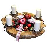Adventskranz, Schale aus Teak Holz Ø ca. 50 cm, Kerzenleuchter, Weihnachtsschale, Kerzenhalter