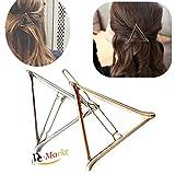 2x Demarkt Stilvoll Hohlen Metall Haarspange Dreieck Haarnadeln Haar Clip (Gold, Sliver)