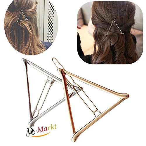 2x Demarkt Stilvoll Hohlen Metall Haarspange Dreieck Haarnadeln Haar Clip (Gold, Sliver) Hohl Clip