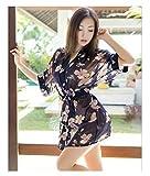 Matissa Damen Nachtwäsche Transparent Sexy Kimono Robe Morgenmantel Nachtwäsche Damenunterwäsche und G-String (Blumengarten Schwarz)