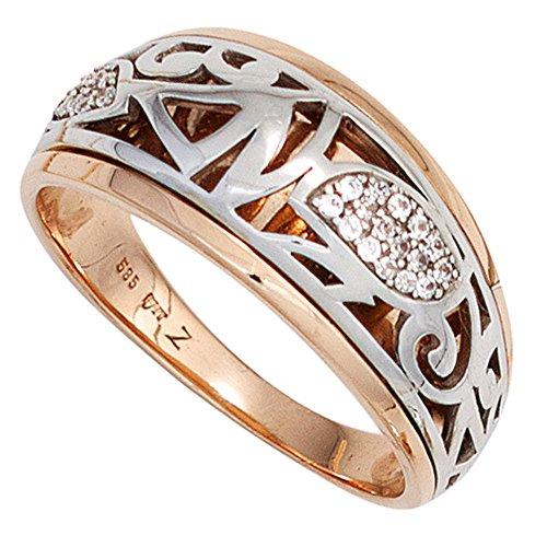 *GIRAHLUTIONS* Damen Ring 585 Gold Rotgold Weißgold bicolor 26 Diamanten Brillanten Goldring