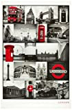 1art1 48800 London - Rote Collage Poster (91 x 61 cm)