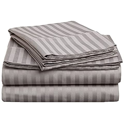 Superior 100% Premium Long-Staple Combed Cotton 300 Thread Count, Eastern King 4-Piece Bed Sheet Set, Deep Pocket, Single Ply, Sateen Stripe,