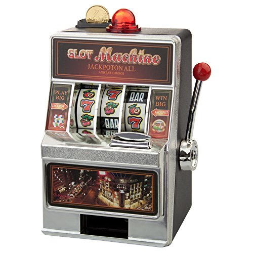 Spardose - Spielautomat (ohne Gravur): originelle Verpackung für Dein Geldgeschenk - in Las Vegas Optik und mit witzigen Soundeffekten - optional mit Deinem Wunschtext graviert