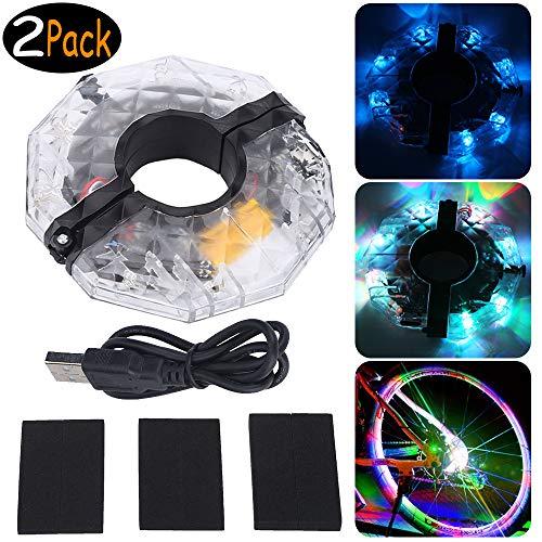 Tebrun USB Wiederaufladbare LED Fahrrad Speichenlicht Fahrrad Rad Licht Speichenreflektor 4 Farbe 3 Modi Radfahren Licht Magic Dekoration Light Fahrrad Zubehör Beleuchtung