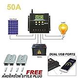 Solarladeregler,Hunpta@30A/50A 12 V/24 V LCD Solar Panel Batterie Regler Laderegler Auto PWM (B)