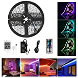 Guaiboshi 10M Tiras de Luz LED Strip RGB 5050 SMD 600 LEDs DIY Stripes Flexible con 24V Adaptador de Alimentación + 44 Mando a Distancia Clave + Receptor Kit